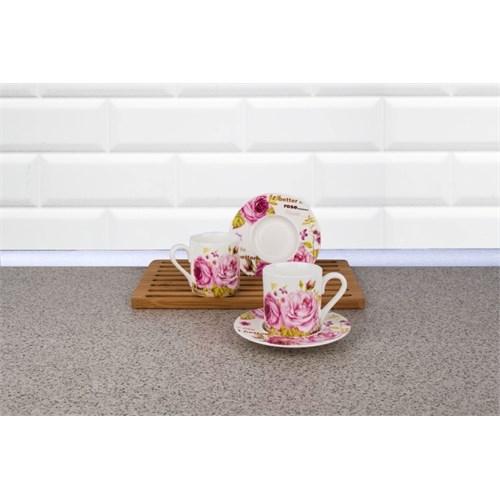 LoveQ Gül Serisi Porselen Çift Kişilik Çay Fincanı 146101
