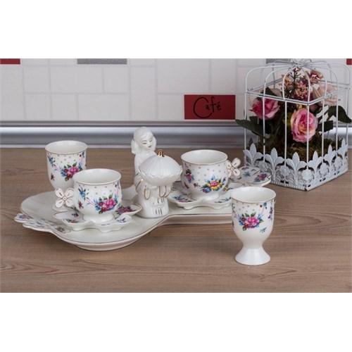 LoveQ Gül Serisi Lokumcu Kız Porselen Çift Kişilik Kahve Fincanı 147290Gu