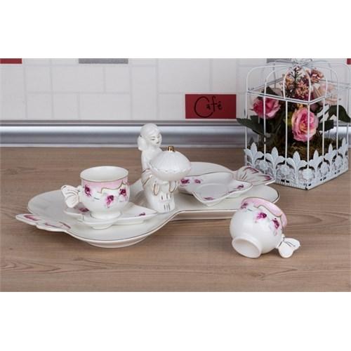 LoveQ Gül Serisi Lokumcu Kız Porselen Çift Kişilik Kahve Fincanı 147286G