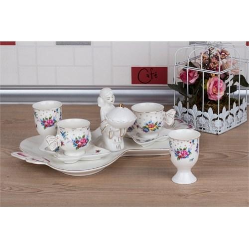 LoveQ Gül Serisi Lokumcu Kız Porselen Çift Kişilik Kahve Fincanı 147288G