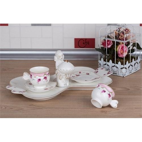 LoveQ Gül Serisi Lokumcu Kız Porselen Çift Kişilik Kahve Fincanı 147327G