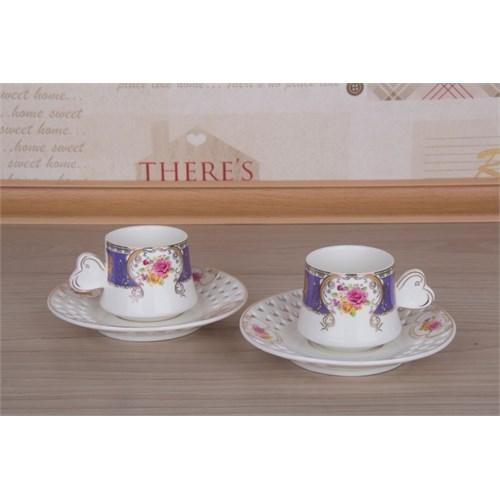 LoveQ Gül Serisi Porselen Çift Kişilik Kahve Fincanı 147279M