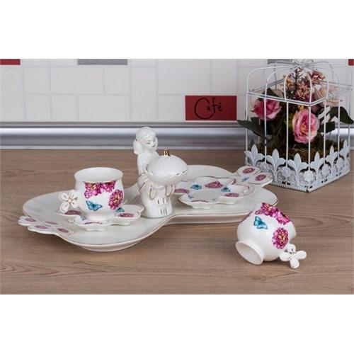 LoveQ Kelebek Serisi Lokumcu Kız Porselen Çift Kişilik Kahve Fincanı 147287K