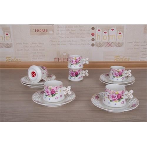 LoveQ Lokumluklu Porselen 6'Lı Kahve Fincanı 147282P