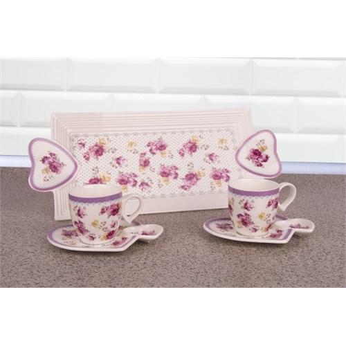 LoveQ Gül Serisi Porselen Çift Kişilik İkramlık Kahve Keyif Fincanı 146685