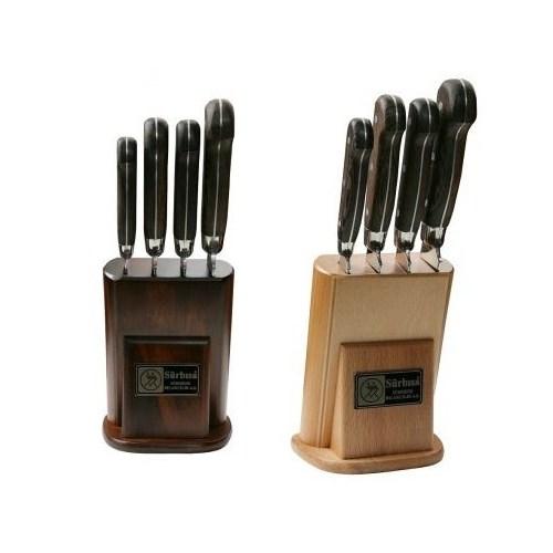 Sürmene Sürbısa 61502 Eskitme Ahşap Standlı Yöresel Model Bıçak Seti 4 Lü