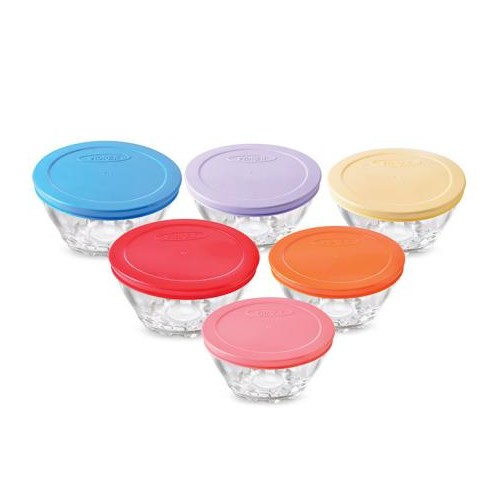LoveQ 6'Lı Renkli Plastik Kapaklı Cam Saklama Kabı