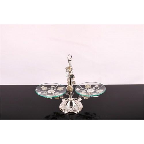 LoveQ Lux Gümüş Cam 2 Katlı Kurabiyelik 146937