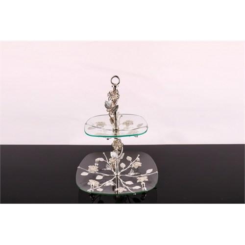 LoveQ Lux Gümüş Cam 2 Katlı Kurabiyelik 146944