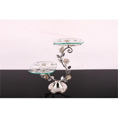 LoveQ Lux Gümüş Cam 2'Li Kurabiyelik 146941