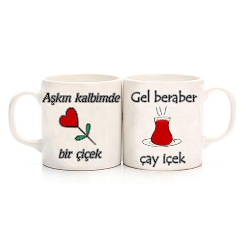 Köstebek Aşkın Kalbimde Bir Çicek Gel Beraber Çay İçek Sevgili Kupa