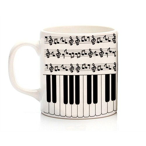 Köstebek Nota Ve Piyano Desenli Kupa