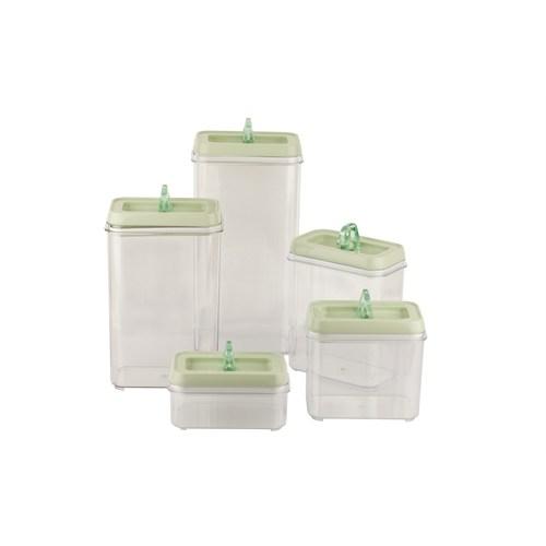 Tantitoni Plastik Yeşil 5Li Kavanoz Seti