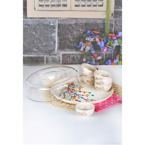 Keramika Set Hitit Kahvaltı 9 Parça Mat Transparan Beyaz 021 İlkbahar Tomurcuk A