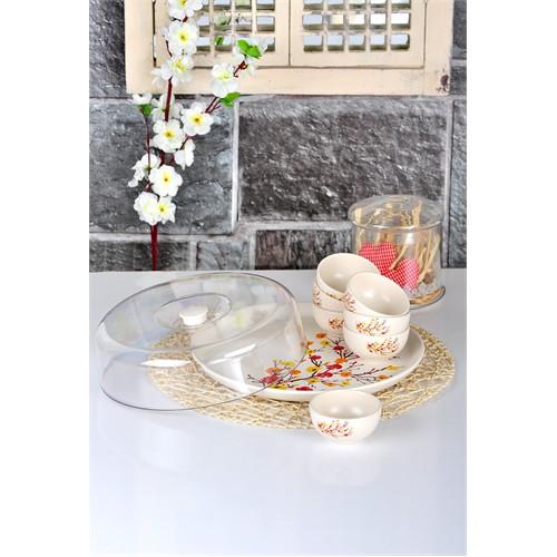 Keramika Set Hitit Kahvaltı 9 Parça Mat Transparan Beyaz 021 Sonbahar Tomurcuk A