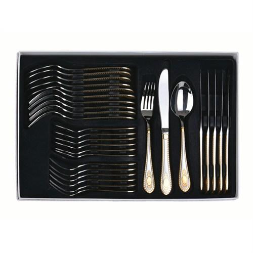 Lucky Art Elegance 30 Parça Mat Altın Çatal Bıçak Takımı