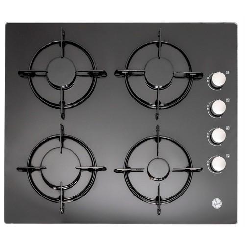 Hoover HGVL 6040 B 4 Gözü Gazlı Emaye Izgaralı Siyah Cam Ankastre Ocak