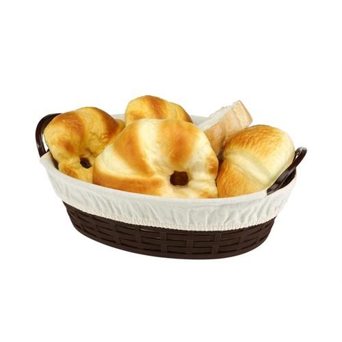 Bora Hasır Desenli Ekmek Sepeti Oval Bez Kaplamalı 28 Cm - Bo 666