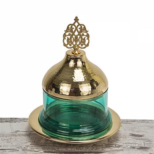 Mukko Home Osmanlı Cam Şekerlik-Altın Yeşil