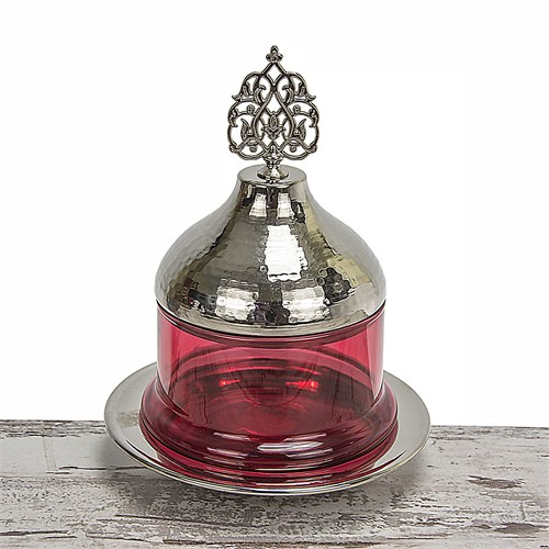 Mukko Home Osmanlı Cam Şekerlik-Gümüş Kırmızı