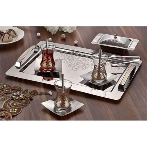 Mersus Motif Altın Saten 40 Parça Çay Seti