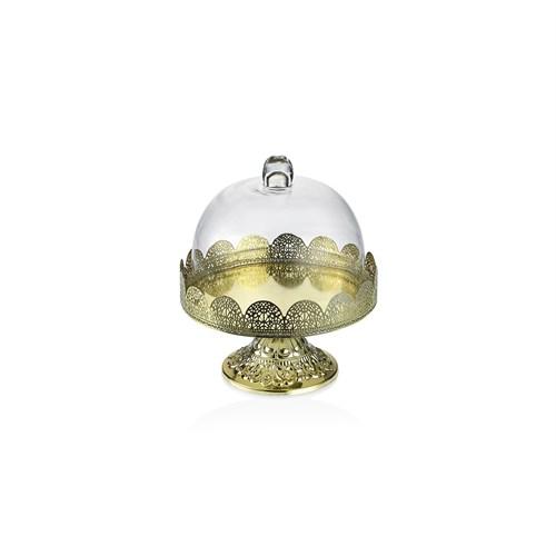 Noble Life Dekoratif Cam Kapaklı Gold Ayaklı Fanus - 25242