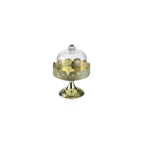 Noble Life Dekoratif Cam Kapaklı Gold Ayaklı Fanus Küçük - 25389