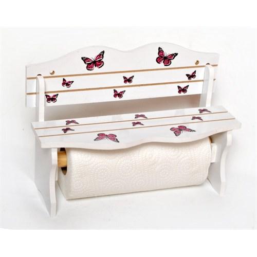 Atadan Kırmızı Kelebekli Ahşap Havluluk-Baharatlık-Beyaz