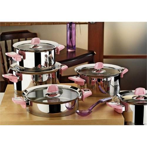 Aryıldız Flamingo Pudra Cam Tencere Set 10 Parca