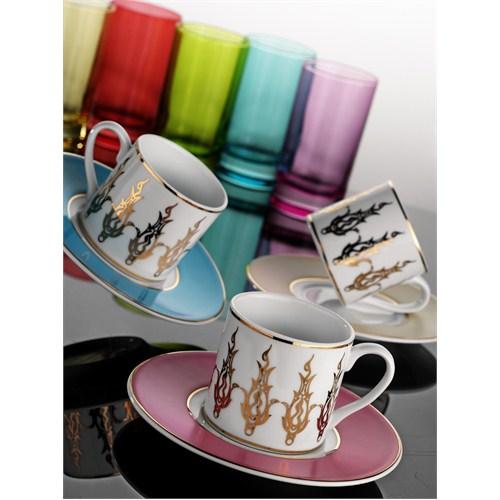 Kütahya Rüya 6 Kişilik 18 parça 6592 Desen Kahve Fincan Takımları