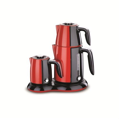 Korkmaz A 367-01 Çaykahve Makinesi Kırmızı / Siyah