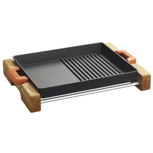 Lava Izgara Tava Hibrit 26X32 Cm. Metal Kulplu Ve Ahşap Stand, Düz Ve Izgara Yüzeyli
