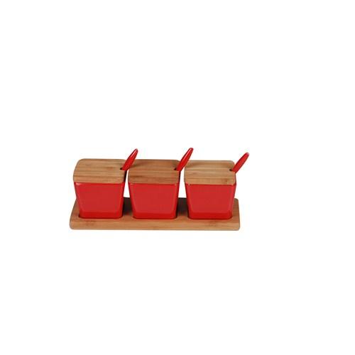 Bosphorus Bambu Melamin Kare Form Kahvaltılık/Sosluk Kırmızı 3 Lü Set