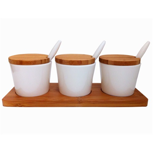 Bosphorus Bambu Melamin Yuvarlak Form Kahvaltılık/Sosluk Beyaz 3 Lü Set
