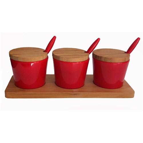 Bosphorus Bambu Melamin Yuvarlak Form Kahvaltılık/Sosluk Kırmızı 3 Lü Set