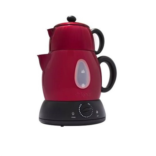 King K-824 R Çaylarr Termostatlı Çelik Çay Makinesi-Kırmızı