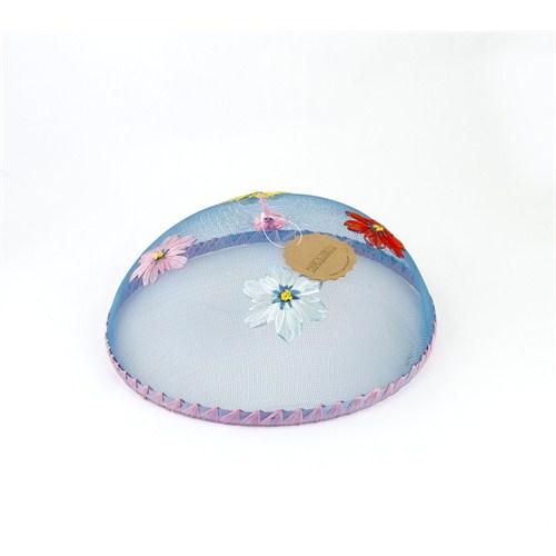 Kancaev Sineklik-Mavi Tel Pembe Bordürlü Çiçekli Büyük