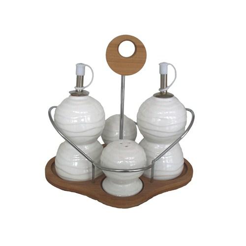 Gönül Porselen Ahşap Standlı 4 Lü Porselen Yağlık Sirkelik Tuzluk Seti