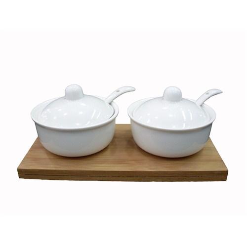 Gönül Kaşıklı,Beyaz Porselen,Bamboo Tepsili 2'li Baharatlık