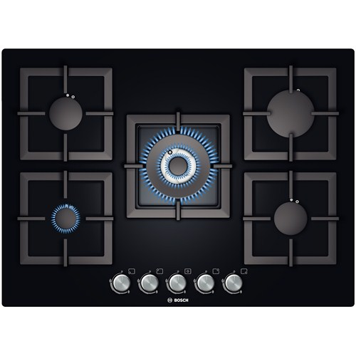 Bosch PPQ716B21E 5 Gözü Gazlı (1 Wok Gözlü) Siyah Cam Ankastre Ocak
