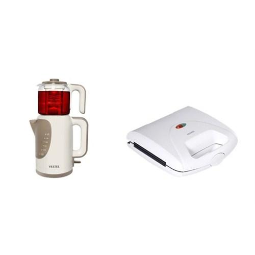 Vestel Yılbaşı Paket 10 (V-Brunch Serisi 1000 Beyaz Mini Tost Makinesi- V-brunch serisi Beyaz Çay Makinesi)