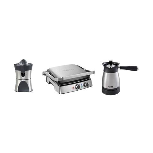 Vestel Yılbaşı Paket 4 (V-Brunch Serisi 3000 Inox Tost Makinesi- V-brunch serisi 3000 Inox Narenciye Sıkacağı- V-Brunch Serisi 1000 Inox Türk Kahve Makinesi)