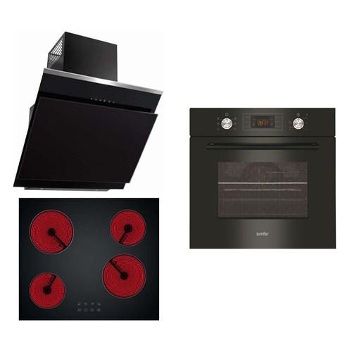 Simfer Vitrolüks 3'lü Ankastre Set (7033 Dokunmatik Fırın+3903/3904 Elektrikli Ocak + 8639 Siyah Kumandalı Davlumbaz)