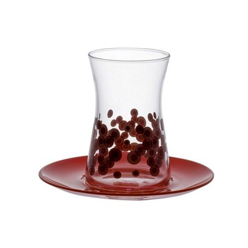 Paşabahçe Heybeli Spotty Çay Seti Kırmızı 8 Parça