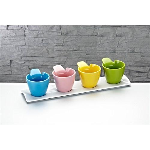 Fidex Home Porselen Renkli 4'Lü Sosluk