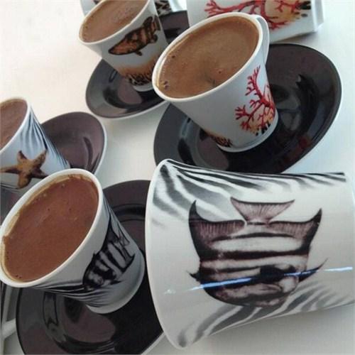 Kütahya Porselen Estel 6 Kişilik Kahve Fincan Takımı