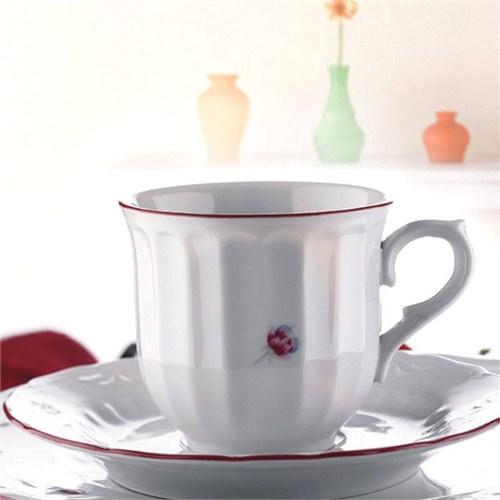 Kütahya Porselen Mina Kırmızı 6 Kişilik Çay Takımı