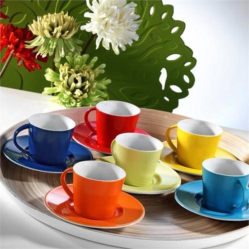 Kütahya Porselen Toledo 6 Kişilik Renkli Porselen Kahve Takımı