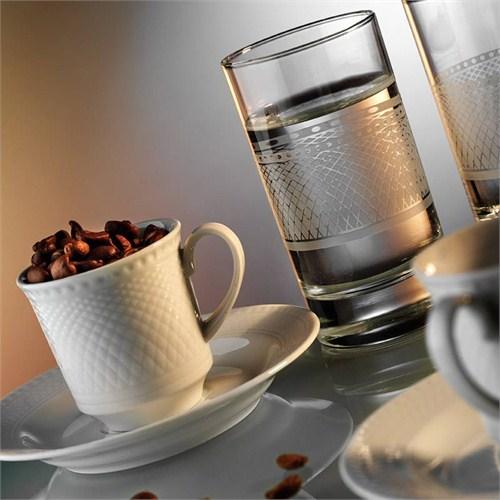Kütahya Porselen Zümrüt 2 Kişilik Su Bardaklı Kahve Fincan Takımı