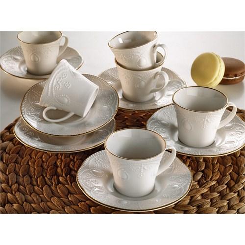 Kütahya Porselen Fulya Krem 6 Kişilik Kahve Fincan Takımı